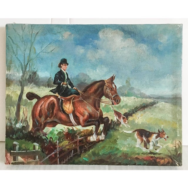Equestrian Steeplechase with Hunting Hounds Petite Oil Painting - Image 9 of 9