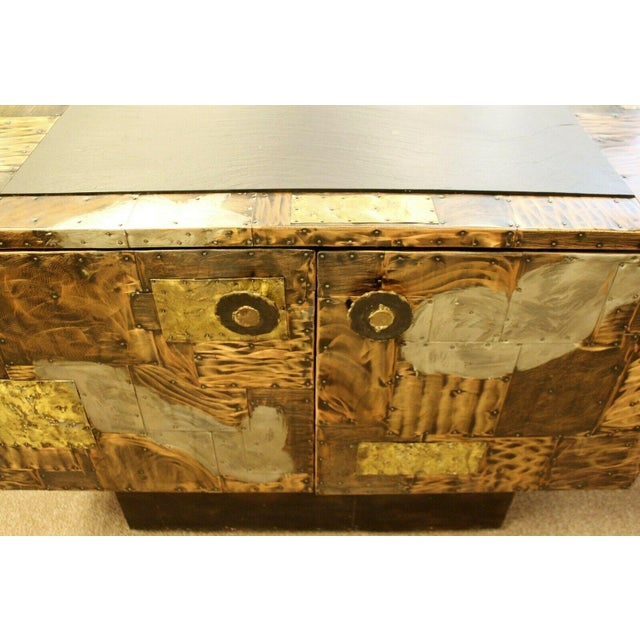 Copper Mid Century Modern Paul Evans Directional Slate Top Copper Patchwork Cabinet 1960s For Sale - Image 8 of 12
