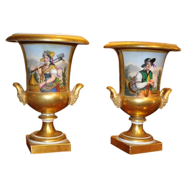 Pair of 19th Century Old Paris Urns For Sale