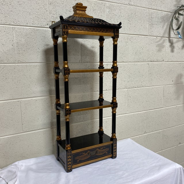 Black Gold Lacquer Pagoda Wall Shelf For Sale - Image 12 of 13