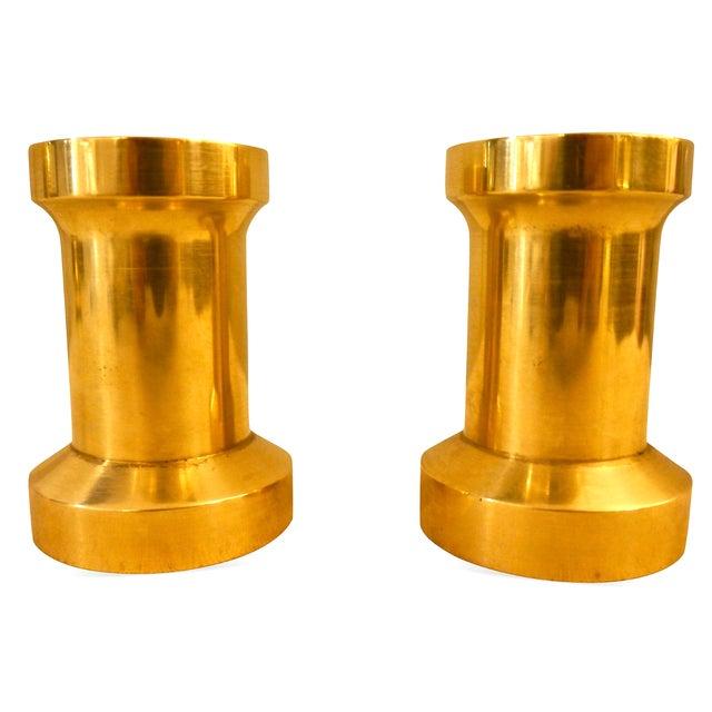 Heavy Brass Billet Candleholders For Sale