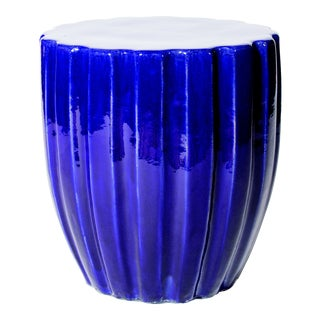Scallop Handmade Glazed Ceramic Outdoor Accent Stool, Navy Blue For Sale