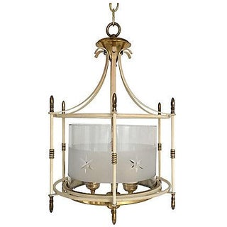 1940s Etched Glass & Brass Lantern For Sale