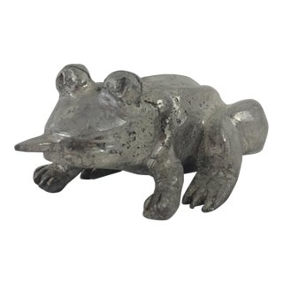 Silvered Bronze Frog For Sale