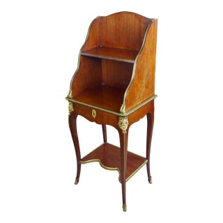 Louis XVI Mahogany & Bronze Ormolu French 3 Tier End Table For Sale