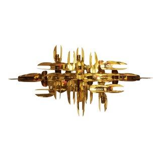 Mid Century Modern Brutalist Brass Copper Wall Sculpture MCM For Sale