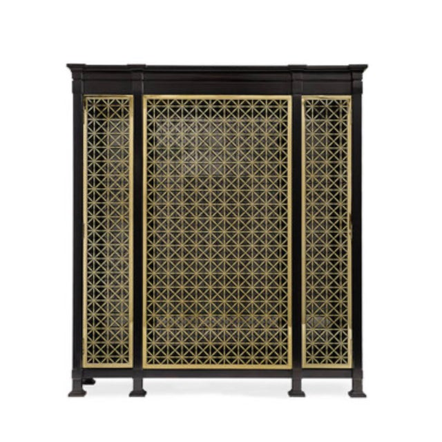 Caracole Modern Black and Gold Display Cabinet For Sale - Image 10 of 10