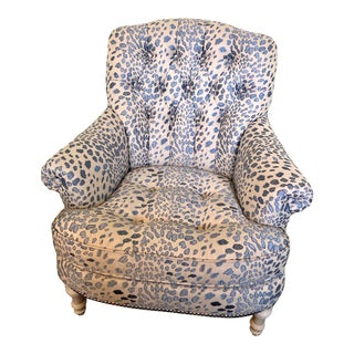 Blue Leopard Print Accent Chair For Sale