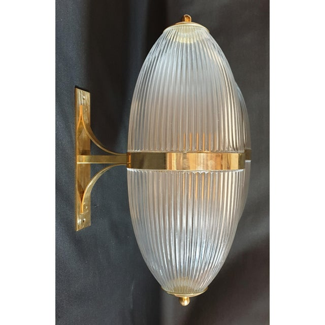 Large Mid-Century Modern Clear Glass & Brass Italian Sconces or Lanterns - a Pair For Sale In Boston - Image 6 of 12