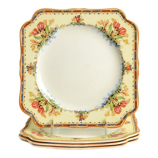 Crown Ducal Tulip Scalloped Luncheon Plates - Set of 4 For Sale
