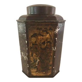 Early 20th Century English Chinoiserie Tea Tin For Sale