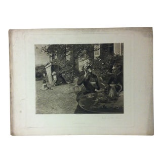 """Antique Photogravure on Paper, """"Coffee on the Terrace"""" from D. Appleton & Co - Circa 1860 For Sale"""
