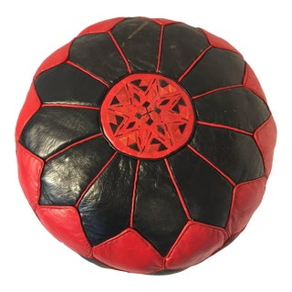 Moroccan Vintage Round Red and Black Leather Pouf For Sale