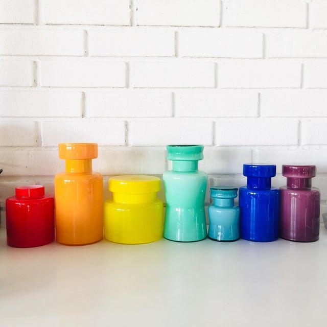 Rainbow Empoli Cased Glass Jars - Set of 7 For Sale - Image 11 of 11