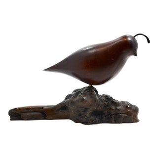 1970s Miles Greer Handcarved Wood California Quail Bird For Sale