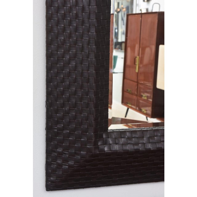 Italian Modern Woven Leather Mirror For Sale - Image 4 of 8