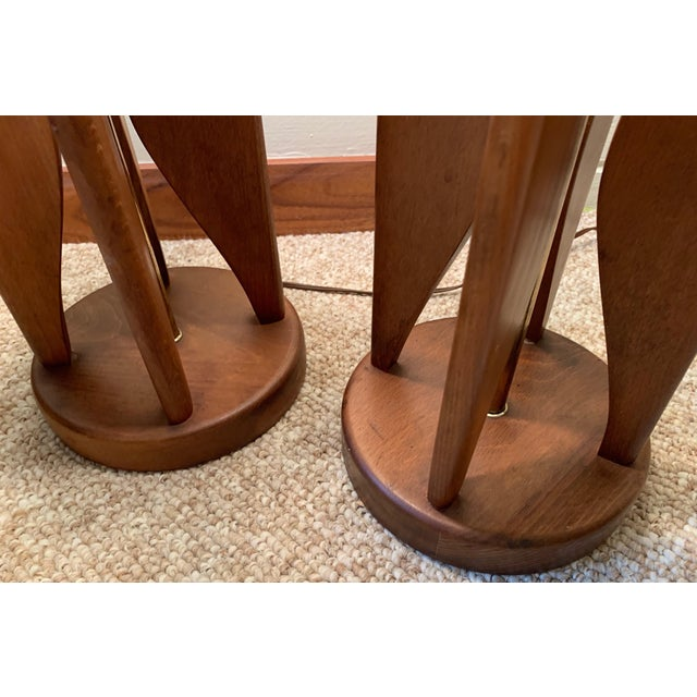 Vintage Sculptural Walnut Lamps Mid Century Modern Danish Pearsall Kagan - a Pair For Sale In Saint Louis - Image 6 of 11