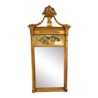 Antique Louis XVI Style Giltwood Englomese Mirror