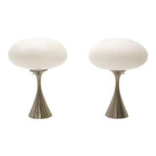 Pair of Laurel Table Lamps Saucer/Oval Glass Shades, Satin Chrome Bases For Sale