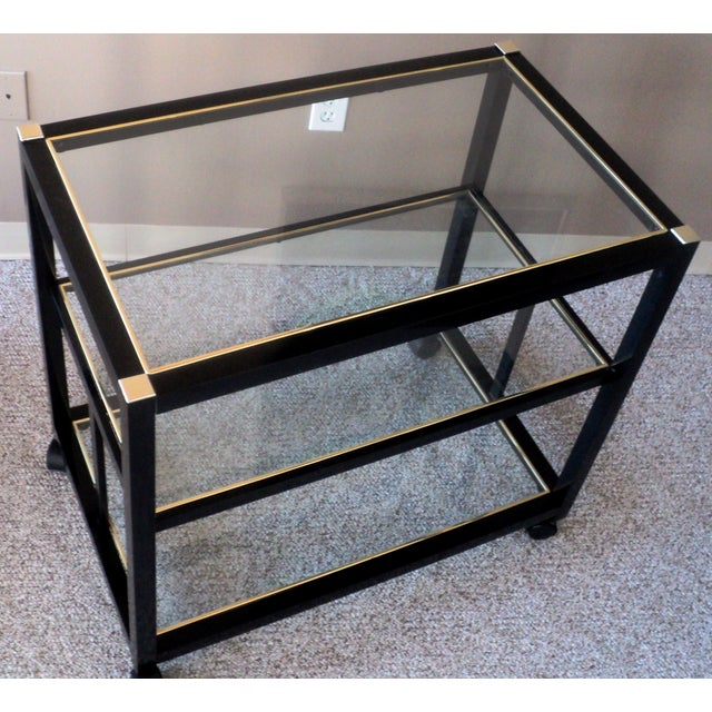 Pierre Vandel Style Black & Gold Trimmed Bar Cart - Image 4 of 6