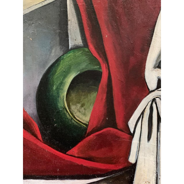 1940s Vintage Nude Woman Still Life Oil Painting For Sale - Image 9 of 11
