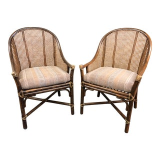 McGuire Caned Host Chairs, a Pair For Sale