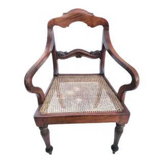 19th Century Anglo-Indian Carved Armchair For Sale