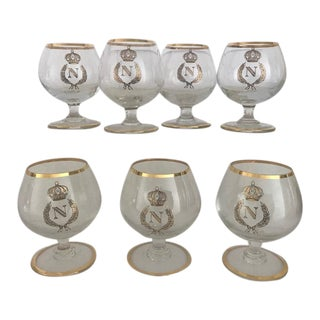 French Hand Blown Gold Leafed Napoleon Brandy Snifter Glasses - Set of 7 For Sale