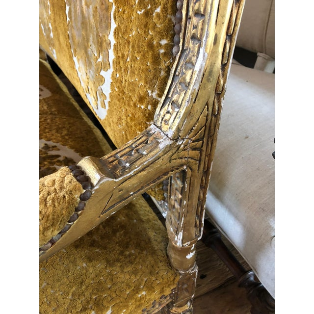White Meant for a Queen Giltwood and Cut Velvet Large French Sofa Settee For Sale - Image 8 of 12