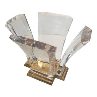 Bigelow Table Base in Lucite and Polished Brass 1980s For Sale
