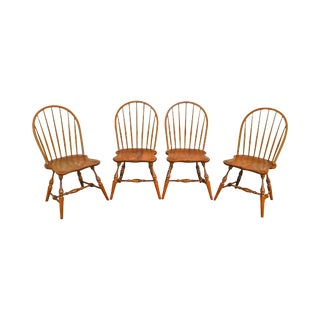 Stickley Solid Cherry Set of 4 Windsor Dining Chairs For Sale