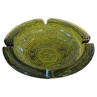 Mid-Century Green Art Glass Ashtray For Sale