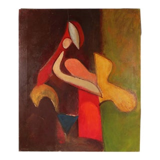 Gerald Wasserman Colorful Cubist Figure in Oil, Mid-Century