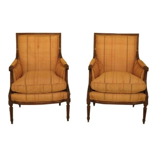 1980s French Louis XVI Style Bergere Chairs withDown Seats - a Pair