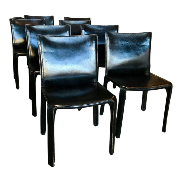 Cassina Chairs, Model Cab Nr. 412, Mario Bellini in Black Leather, Set of Eight For Sale