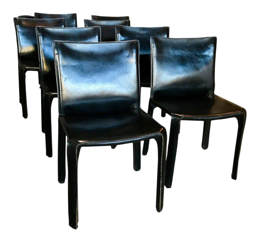 Cassina Chairs, Model Cab Nr. 412, Mario Bellini In Black Leather, Set