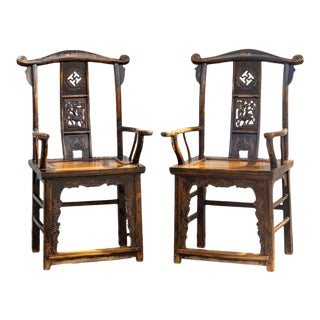Pair of Finely Carved Emperor Arm Chairs For Sale
