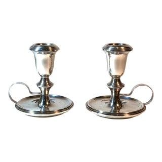 Empire Weighted Sterling Silver Finger Loop W/ Base Candle Holders - a Pair For Sale