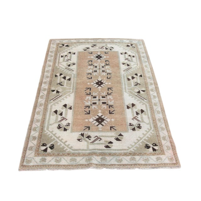 1970s Vintage Tribal Turkish Rug - 3′5″ × 5′1″ For Sale
