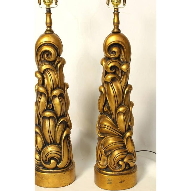 Gold Sculptural Gilt Wood Table Lamps - A Pair For Sale - Image 8 of 10