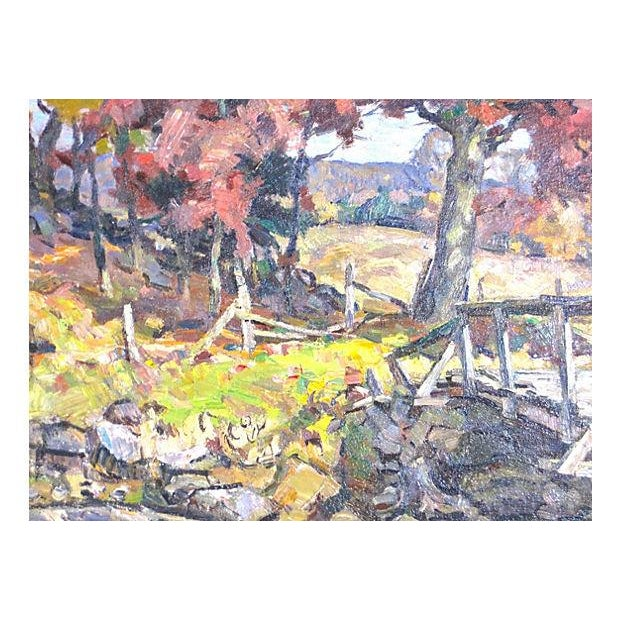 """Original oil on board titled """"Autumn in Connecticut"""" by renowned New England artist Frederick Sexton (1889-1975). Sexton..."""
