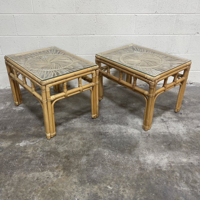 Brown Bamboo & Wicker Glass Top End Tables For Sale - Image 8 of 8