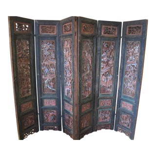 Chinese Qing Dynasty Polychrome Carved Wood 6 Panel Figural 6 Panel Screen For Sale