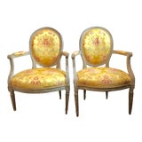 Image of 18th Century Vintage Louis XVI 1760s French Fauteuils- A Pair For Sale