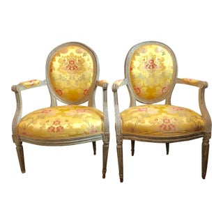 18th Century Vintage Louis XVI 1760s French Fauteuils- A Pair For Sale