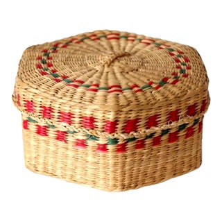 Vintage Sweetgrass Basket For Sale