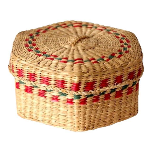 Vintage Sweetgrass Basket For Sale