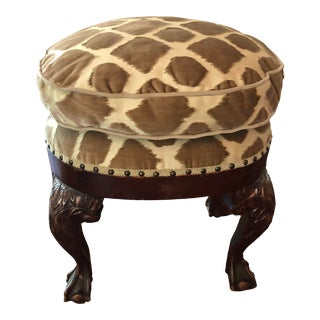 Scalamandre Upholstered Stool For Sale