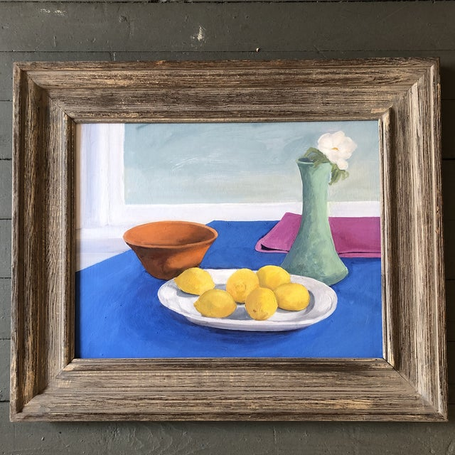 Original Vintage Still Life Painting With Lemons For Sale - Image 9 of 9