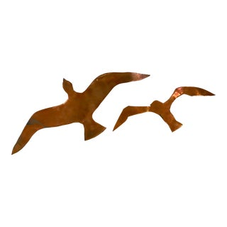 20th Century Brutalist Copper Bird Wall Hangings - a Pair For Sale